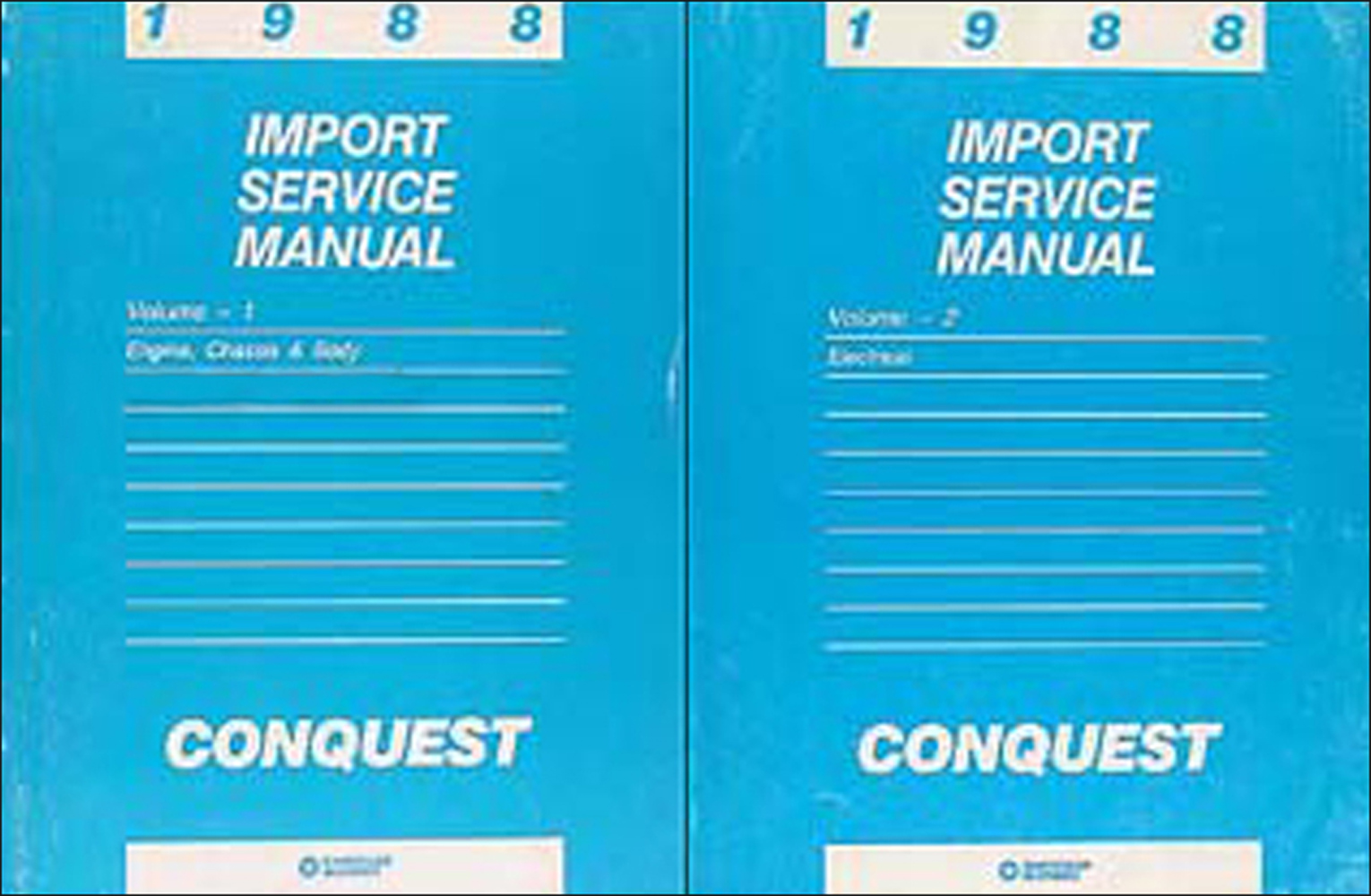 1988 Chrysler Conquest Shop Manual Original 2 Volume Set