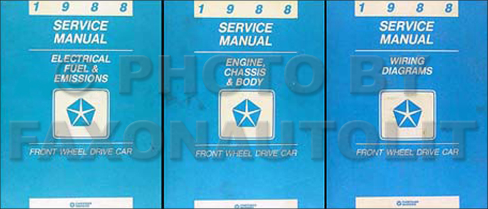 1988 MoPar FWD Car Repair Manual 3 Vol Set