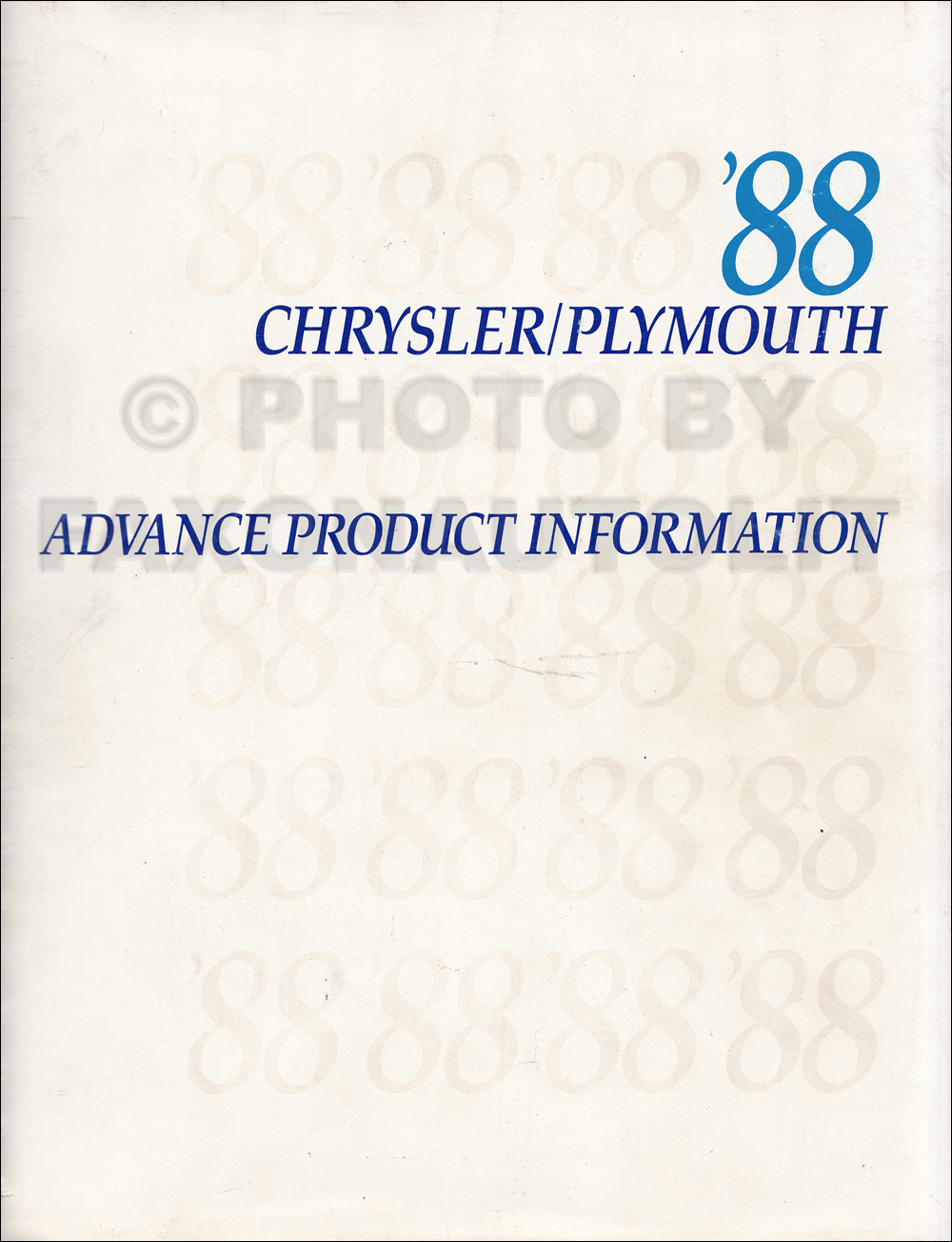 1988 Chrysler Plymouth Advance Color and Upholstery Album and Data Book Original