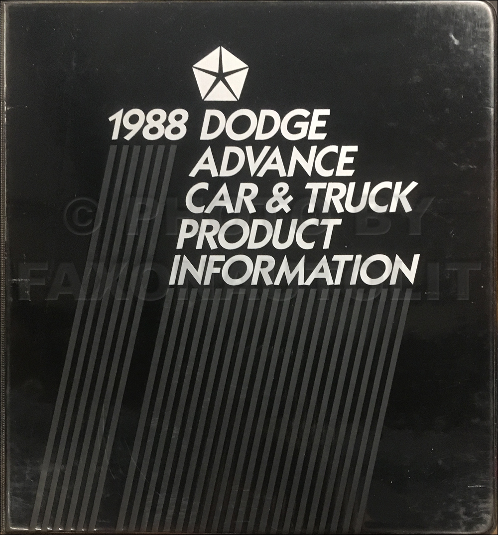 1988 Dodge Advance Color and Upholstery Album and Data Book Original