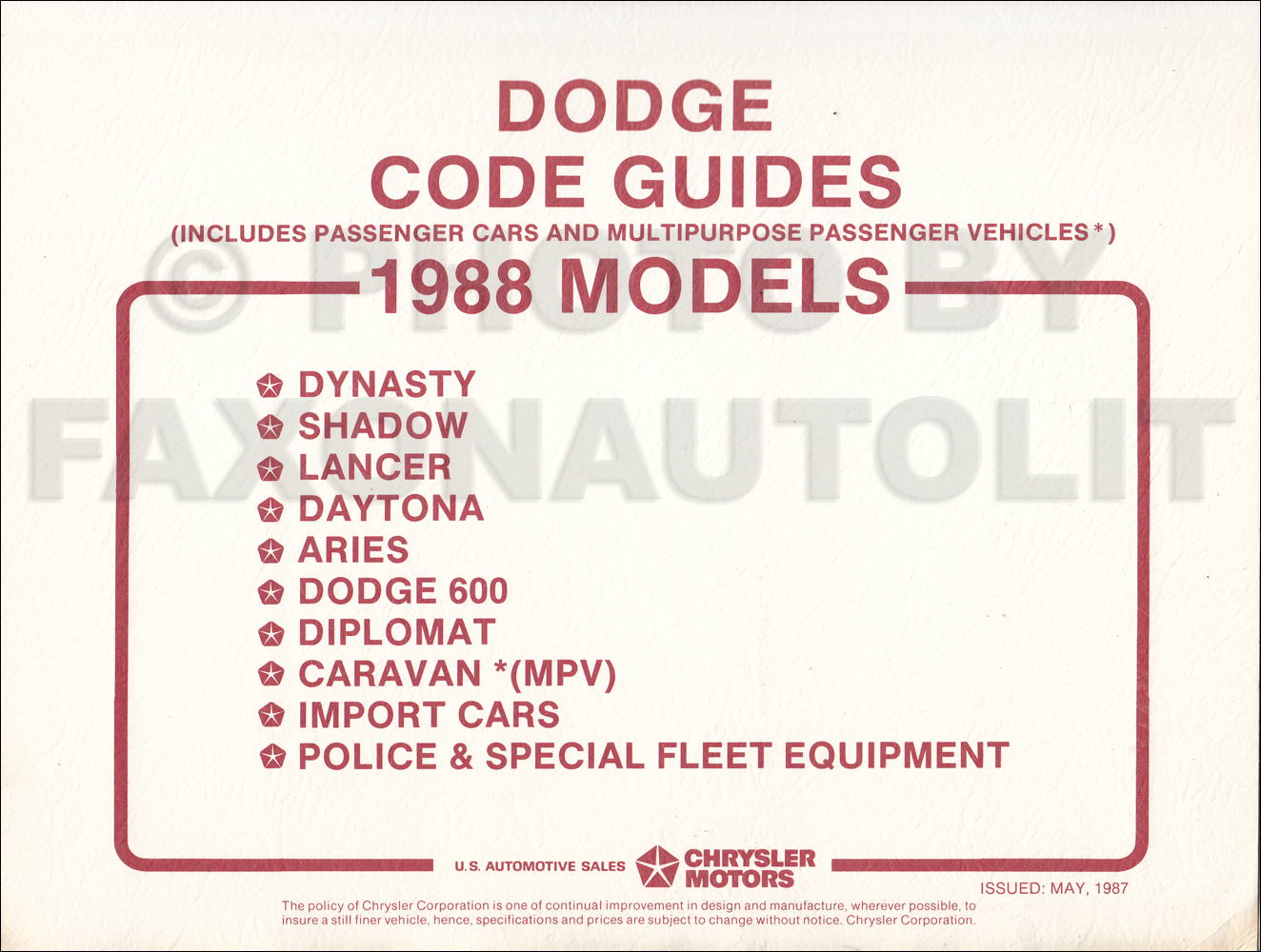 1988 Dodge Car Ordering Guide Original