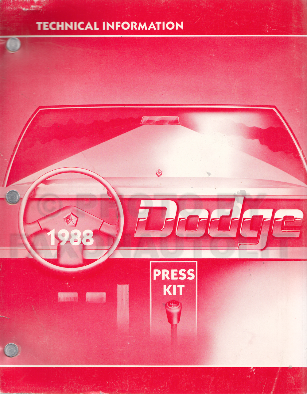1988 Dodge Technical Press Information Original