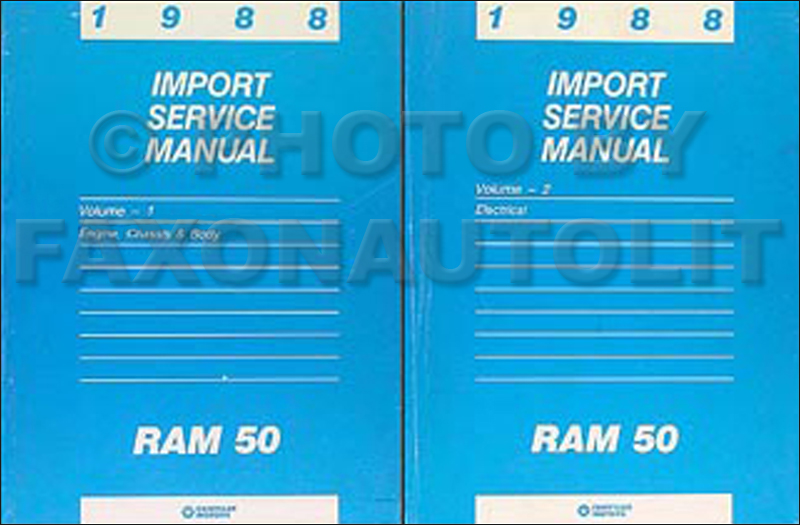 1988 Dodge Ram 50 Truck Shop Manual Original 2 Volume Set