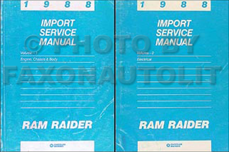 1988 Dodge Ram Raider Shop Manual Original 2 Volume Set