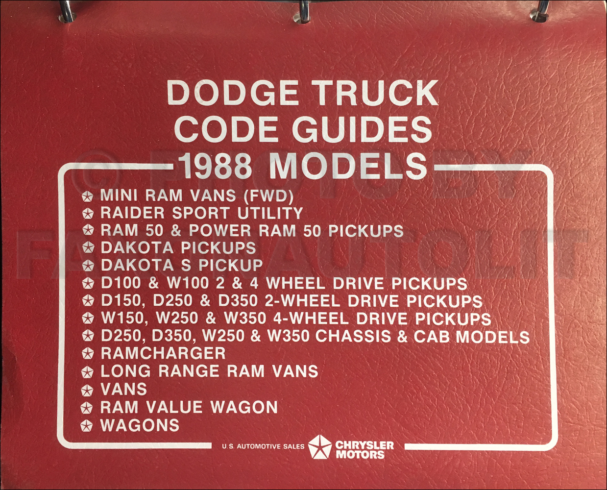 1988 Dodge Truck Ordering Guide Original
