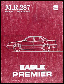 1988 Eagle Premier Shop Manual Original M.R.287