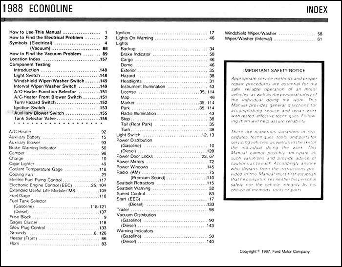 1988 ford econoline van & club wagon electrical troubleshooting manual ·  table of contents