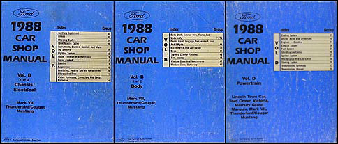 1988 FoMoCo Repair Shop Manual Original Vols B & D Mustang Thunderbird Cougar Mark VII