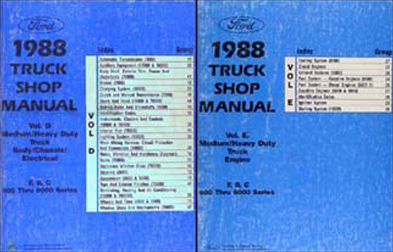 1988 Ford F, B, C 600-8000 Medium and Heavy Truck Repair Shop Manual Set