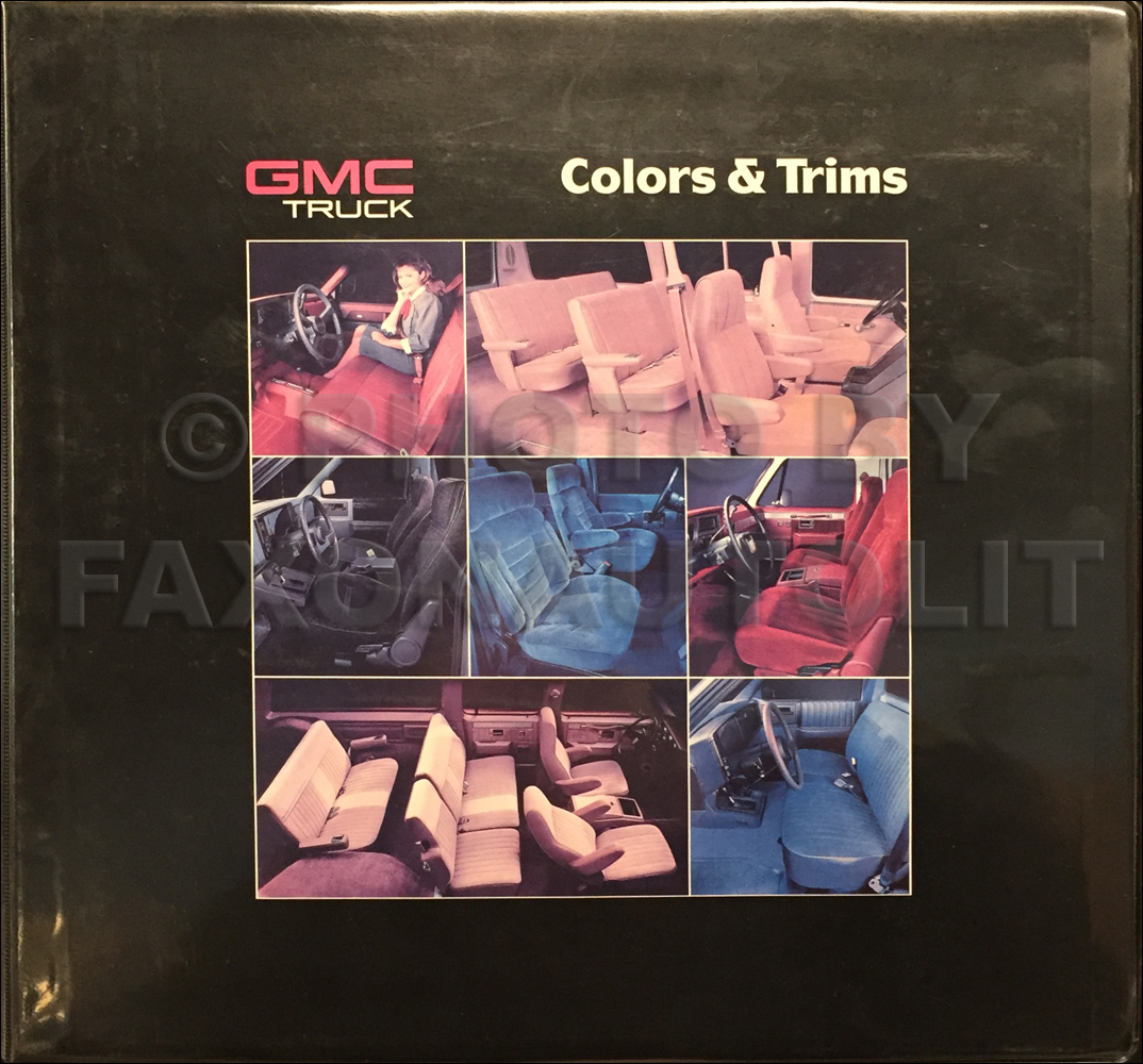 1988 GMC Color & Upholstery Dealer Album Original