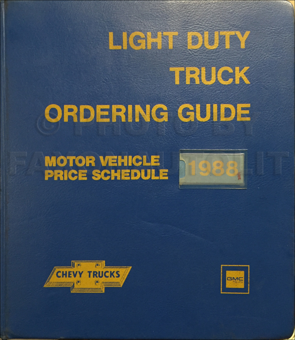 1988 GMC Chevy Light Duty Data Book Dealer Album Original Canadian