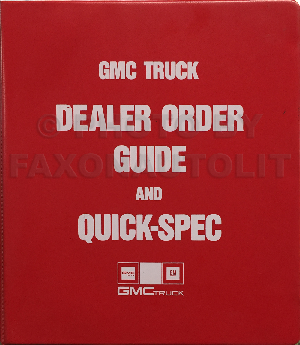 1988 GMC Order Guide Dealer Album Original for Pickup, Van, and SUV