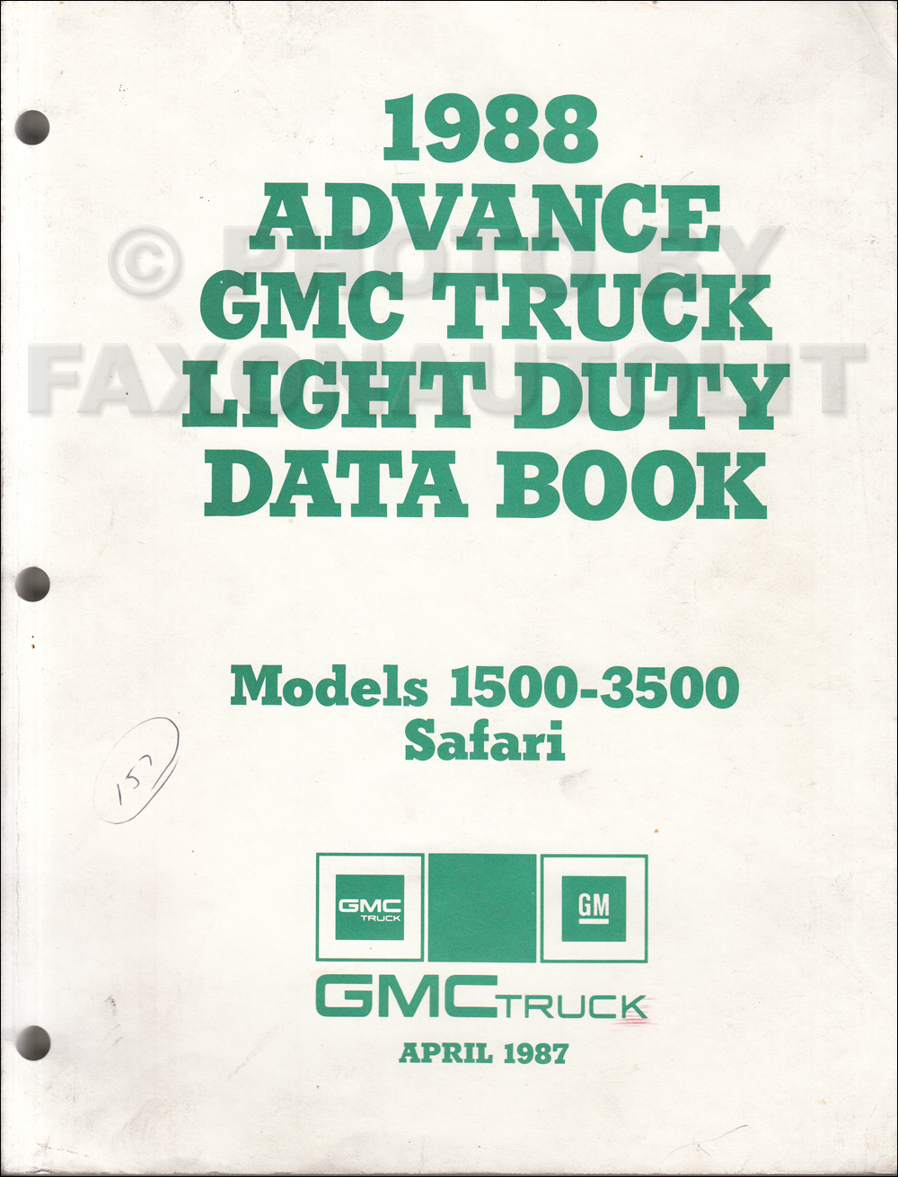 1988 GMC Advance Light Duty Data Book Original