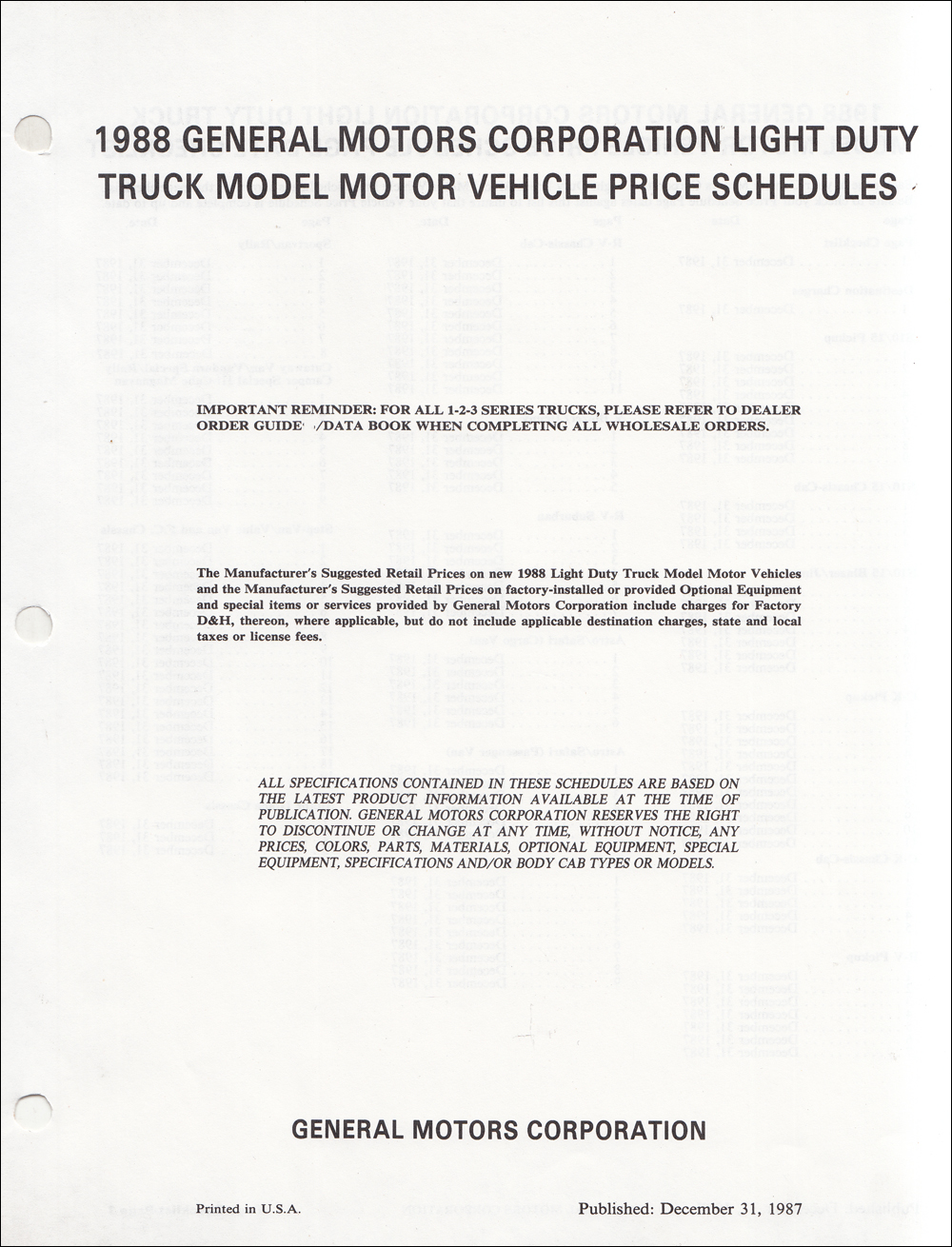 1988 GMC Truck Price Schedule Dealer Album Original