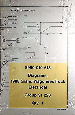 1988 Grand Wagoneer J 10 J 20 Pickup Truck Wiring Diagrams Original