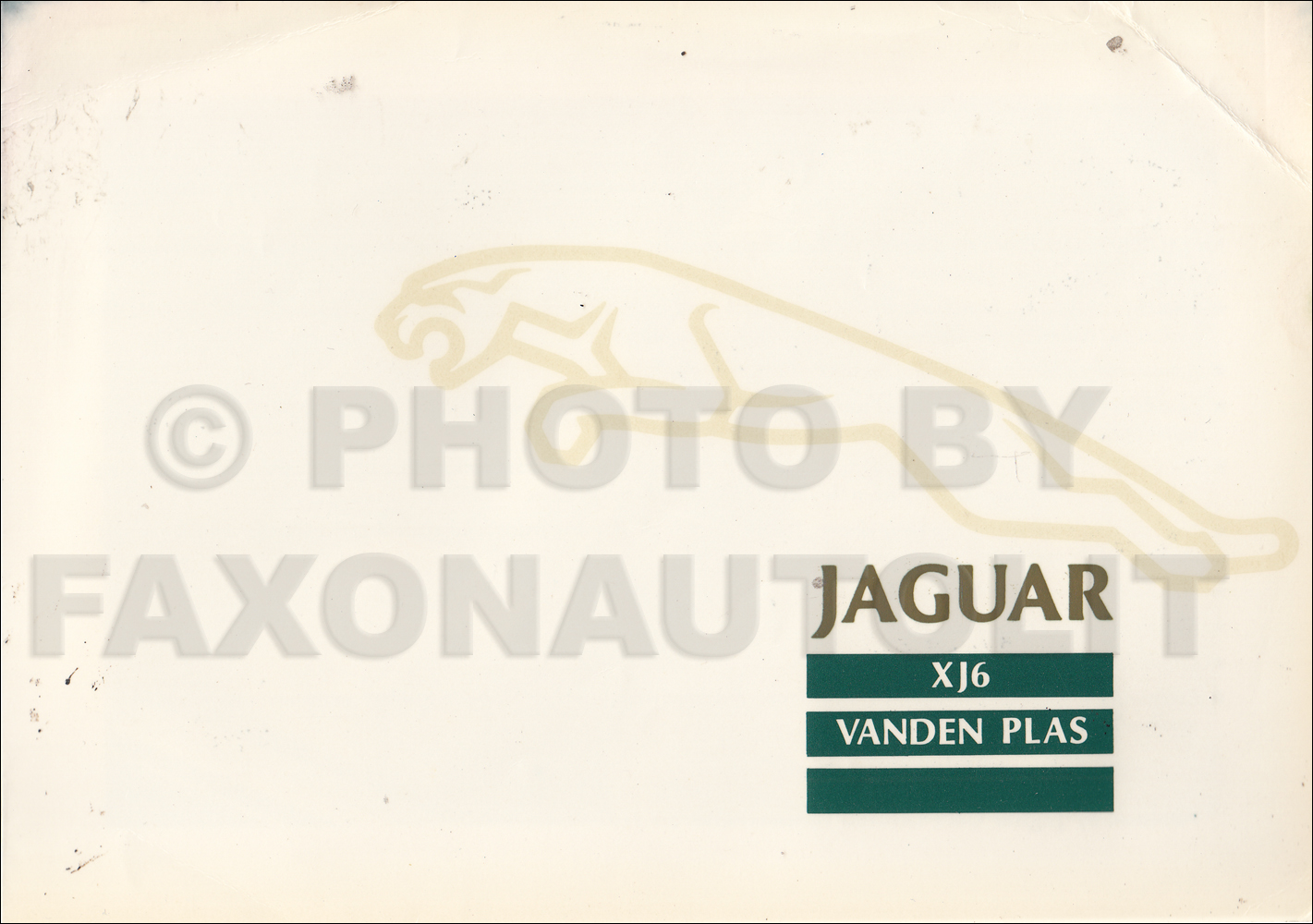 1988 Jaguar Vanden Plas Owner's Manual Supplement Original