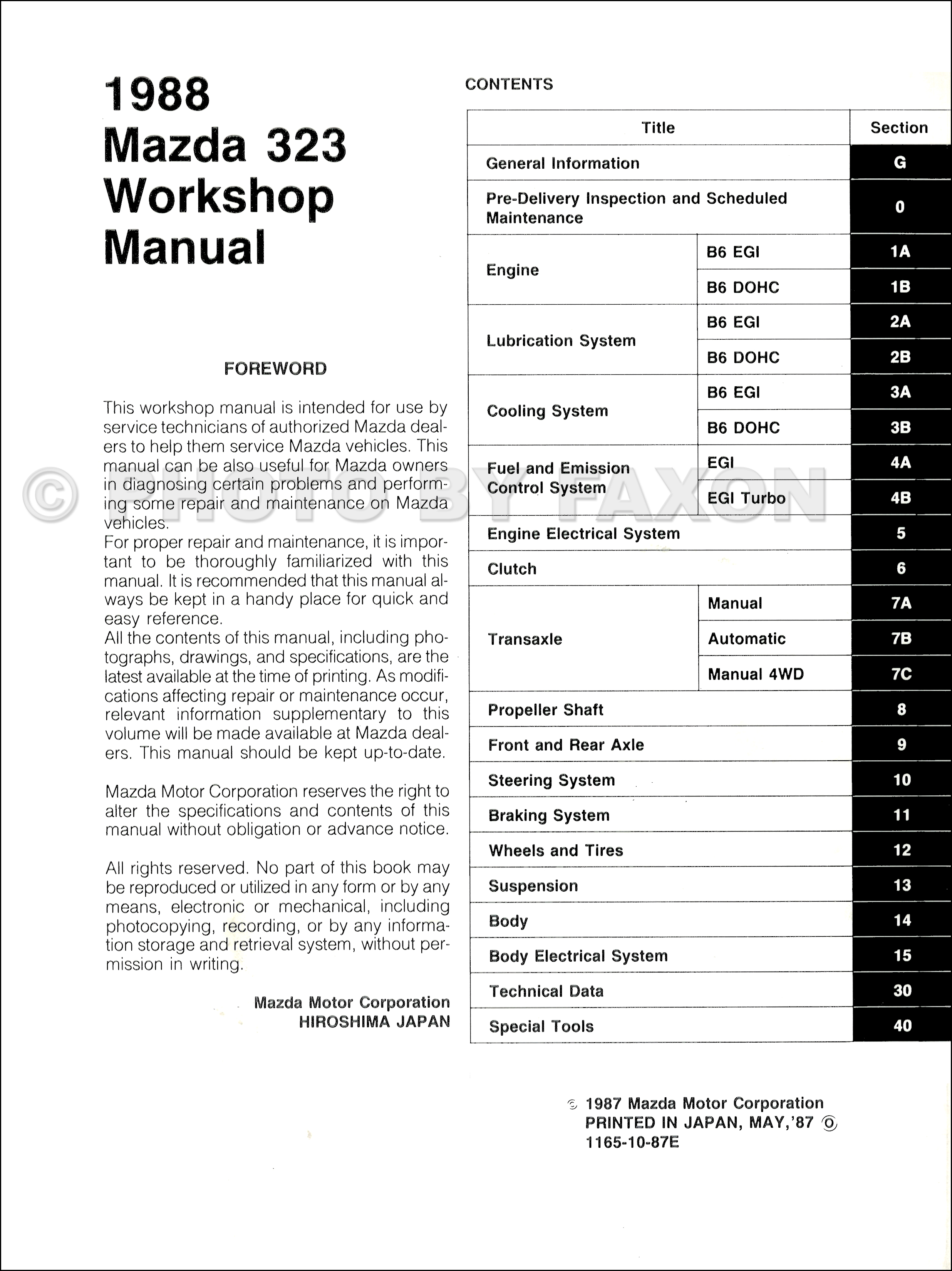 1987 Mazda 323 Repair Manual Original · Table of Contents Page