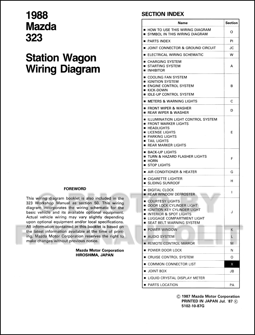 1988 Mazda 323 Station Wagon Wiring Diagram Manual Original 3 Door Click On Thumbnail To Zoom
