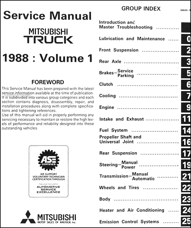 1988 mitsubishi truck repair shop manual set original Grafik Eye Wiring Diagrams table of contents