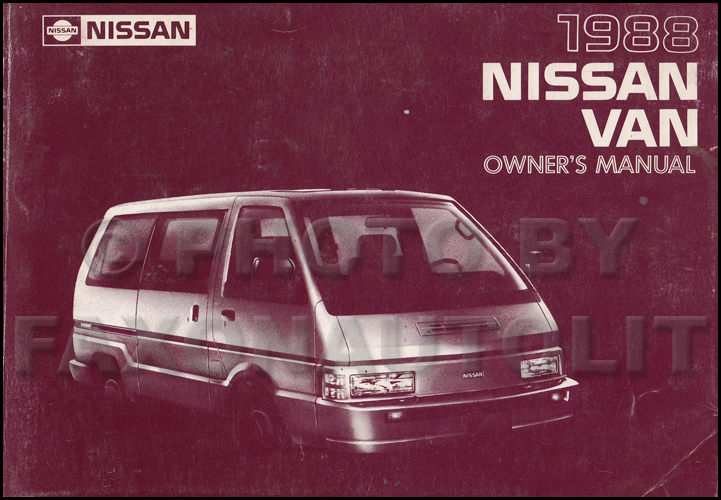 1988 Nissan Van Wiring Diagram Manual Original