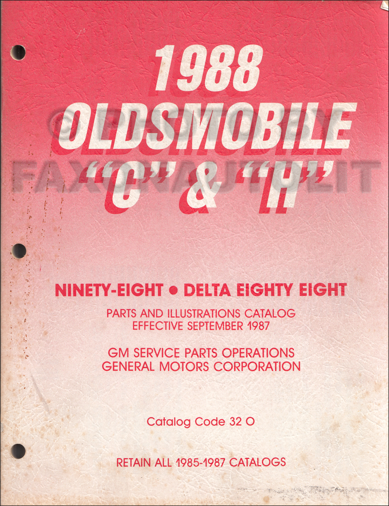 1988 Oldsmobile 88 and 98 Parts Book Original