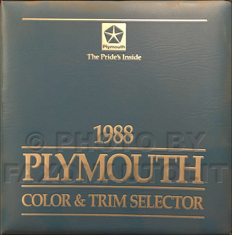 1988 Plymouth Color & Upholstery Dealer Album Original
