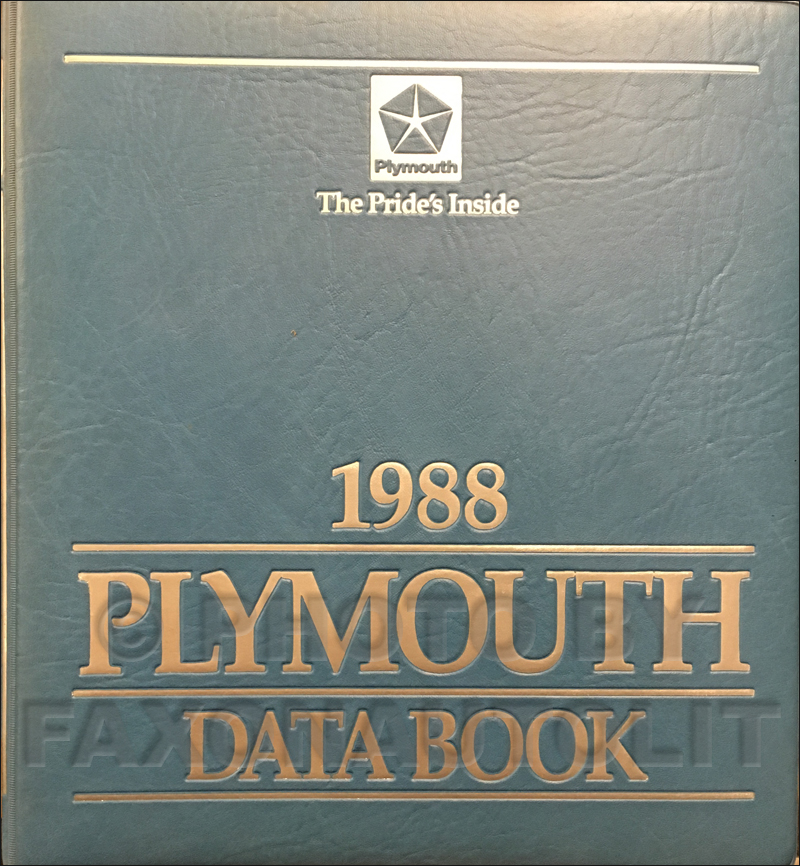 1988 Plymouth Data Book Original