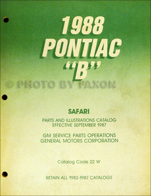 1988 Pontiac Safari Station Wagon Parts Book Original