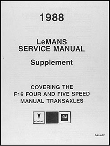 1991 LeMans 4- & 5-Speed Manual Transaxle Repair Manual Original