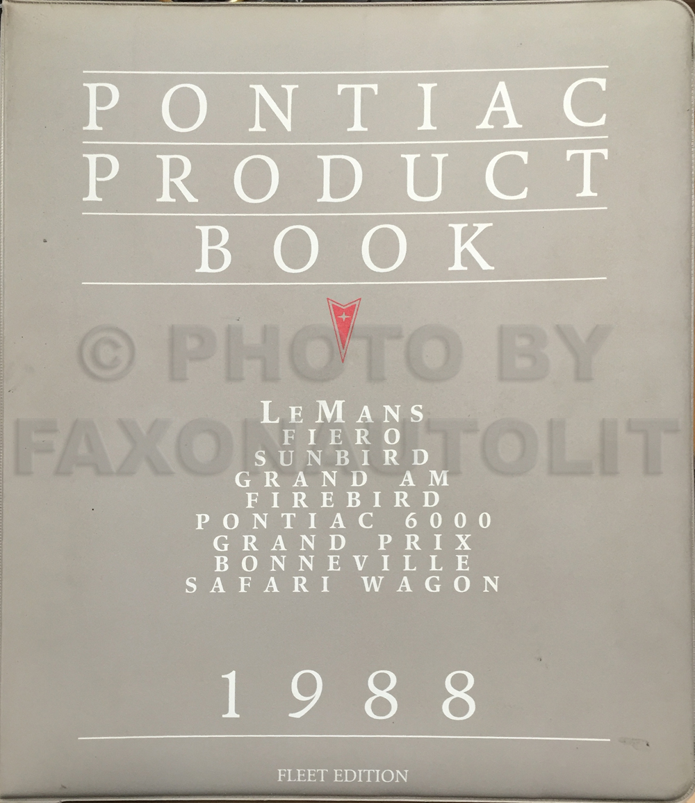 1988 Pontiac Product Data Book Dealer Album FLEET Edition Original