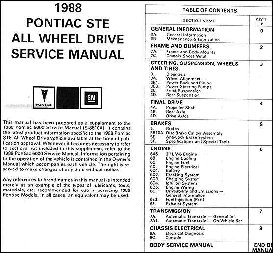 1988 Pontiac 6000 Ste All Wheel Drive Repair Shop Manual