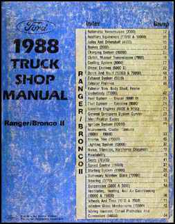 1988 Ford Ranger & Bronco II Repair Manual Original