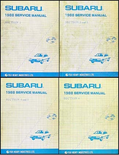 1988 Subaru Repair Manual Original 6 Section/4 Book Set - DL, GL, Brat