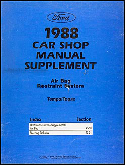1988 Tempo/Topaz Airbag Shop Manual Original Supplement