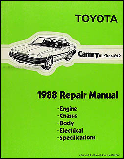 1988 Toyota Camry All-Trac 4WD Repair Manual Original