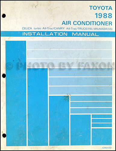 1988 Toyota Air Conditioner Installation Manual Original for All-Trac Car  or V6 Truck
