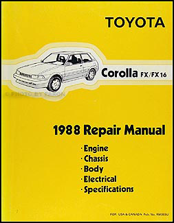 1988 Toyota Corolla FX/FX 16 Repair Manual Original