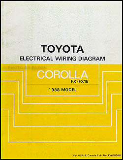 1988 Toyota Corolla FX and FX16 Wiring Diagram Manual Original