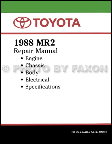 1988 Toyota MR2 Repair Manual Original