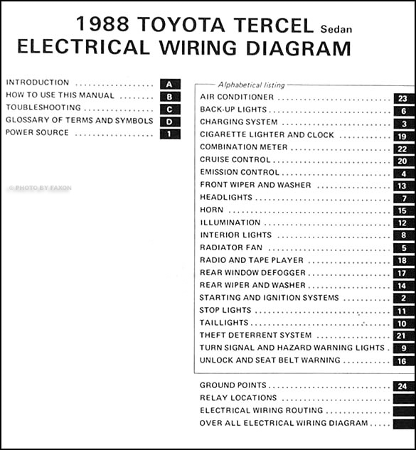 1988 Toyota Tercel Sedan Wiring Diagram Original