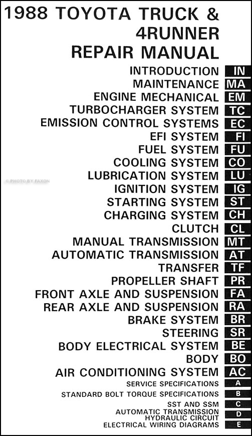 1988 Toyota Pickup Truck  4runner Repair Shop Manual