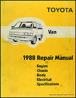 1988 Toyota Van Repair Manual Original