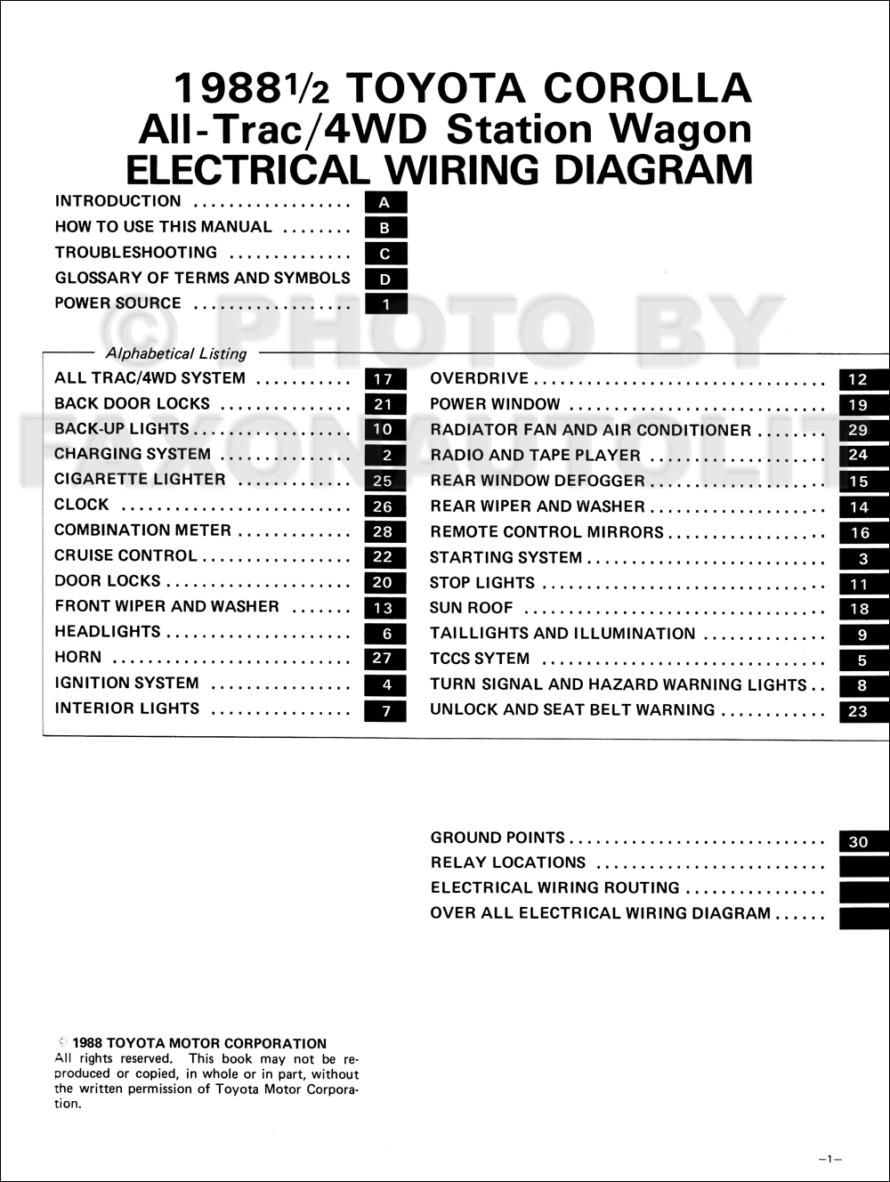 1988 Toyota Corolla All-Trac/4WD Station Wagon Wiring Diagram Manual  Original · Table of Contents