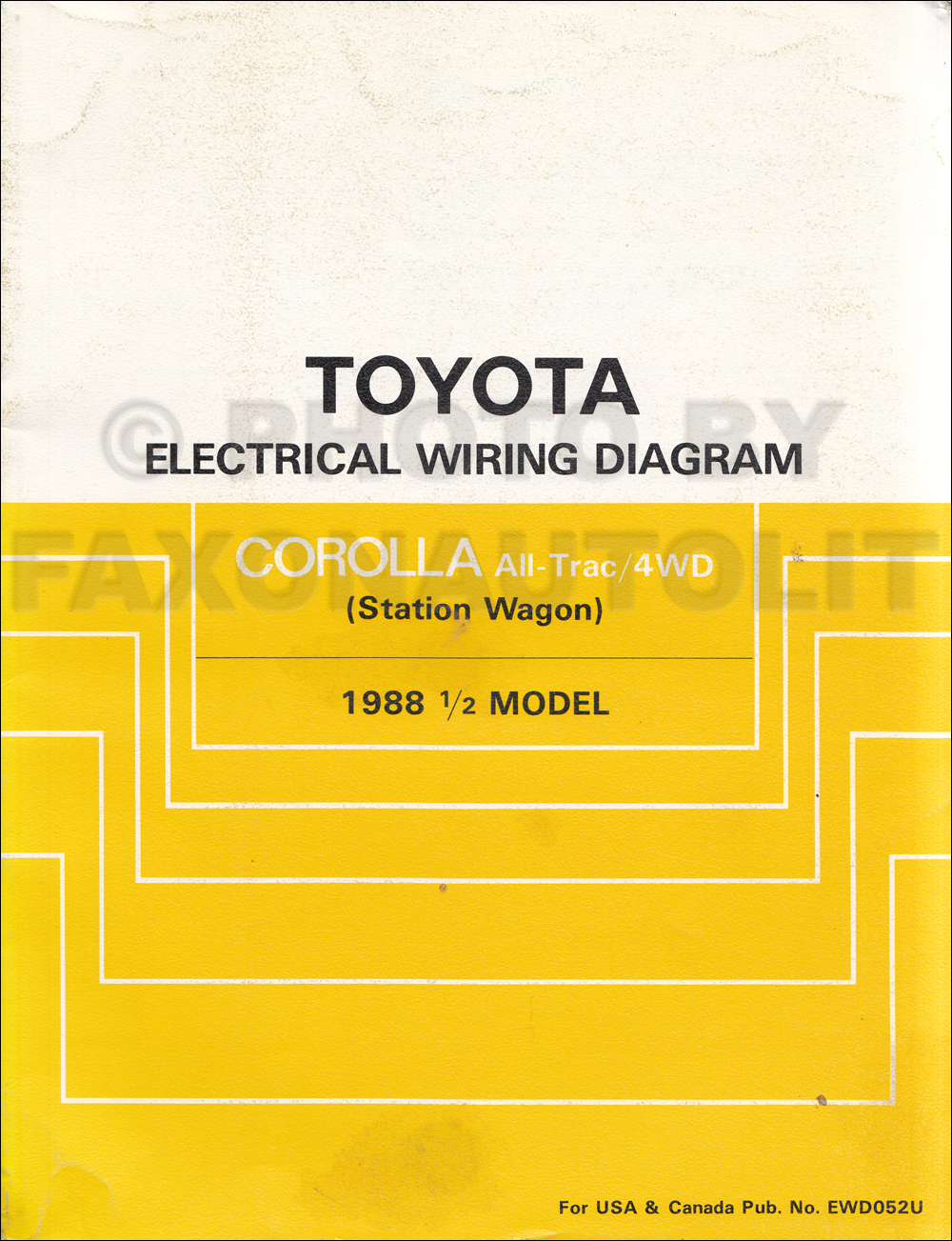 1988 Toyota Corolla All Trac 4wd Station Wagon Wiring Diagram Manual Original