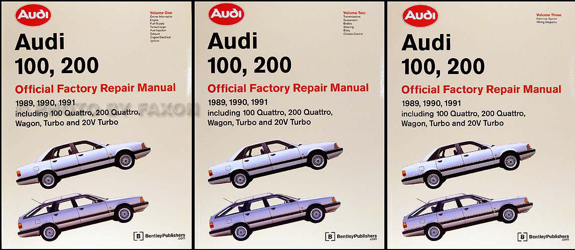 1989-1991 Audi 100/200 Repair Manual 3 Volume Set Original