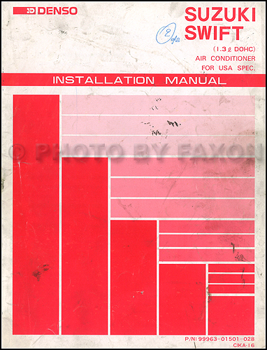 1989-1991 Suzuki Swift GTi DOHC A/C Installation Manual Original