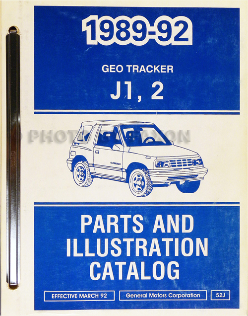 1989-1992 Chevrolet Geo Tracker Illustrated Parts Book Original
