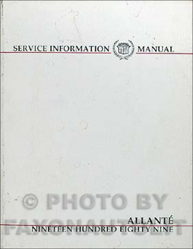 1989 Cadillac Allante Shop Manual Original