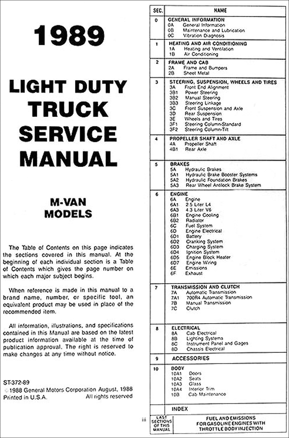 1989 Chevrolet Astro Van Shop Manual Original. click on thumbnail to zoom