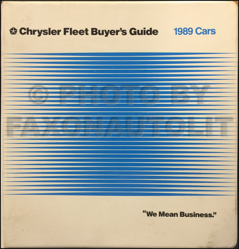 1989 Chrysler Plymouth Dodge Eagle Fleet Buyer's Guide Original